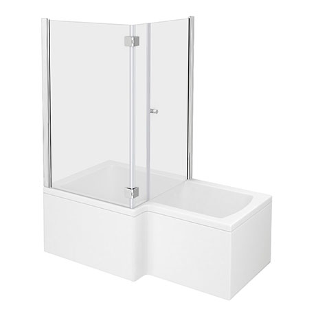 Milan Shower Bath Enclosure - 1700mm L-Shaped Inc. Hinged Screen + Panel