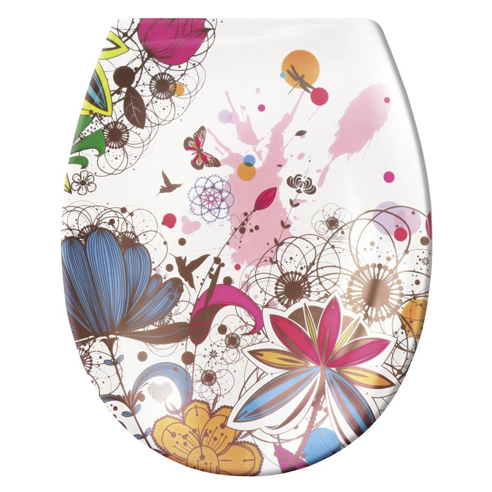 coloured soft close toilet seat. Kleine Wolke  Crazy Flower Soft Close Toilet Seat 1806 148 075 at Victorian Plumbing UK