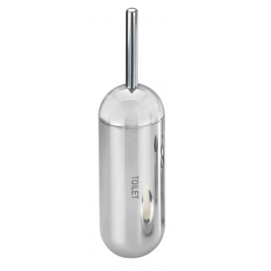 Wenko Riva Shiny Toilet Brush & Holder - Stainless Steel - 18164100 Large Image
