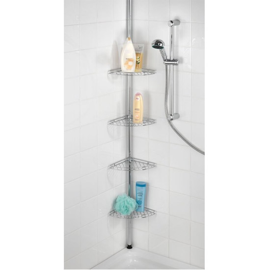 Wenko Prea Telescopic Corner Rack - Stainless Steel - 18596100 Profile Large Image