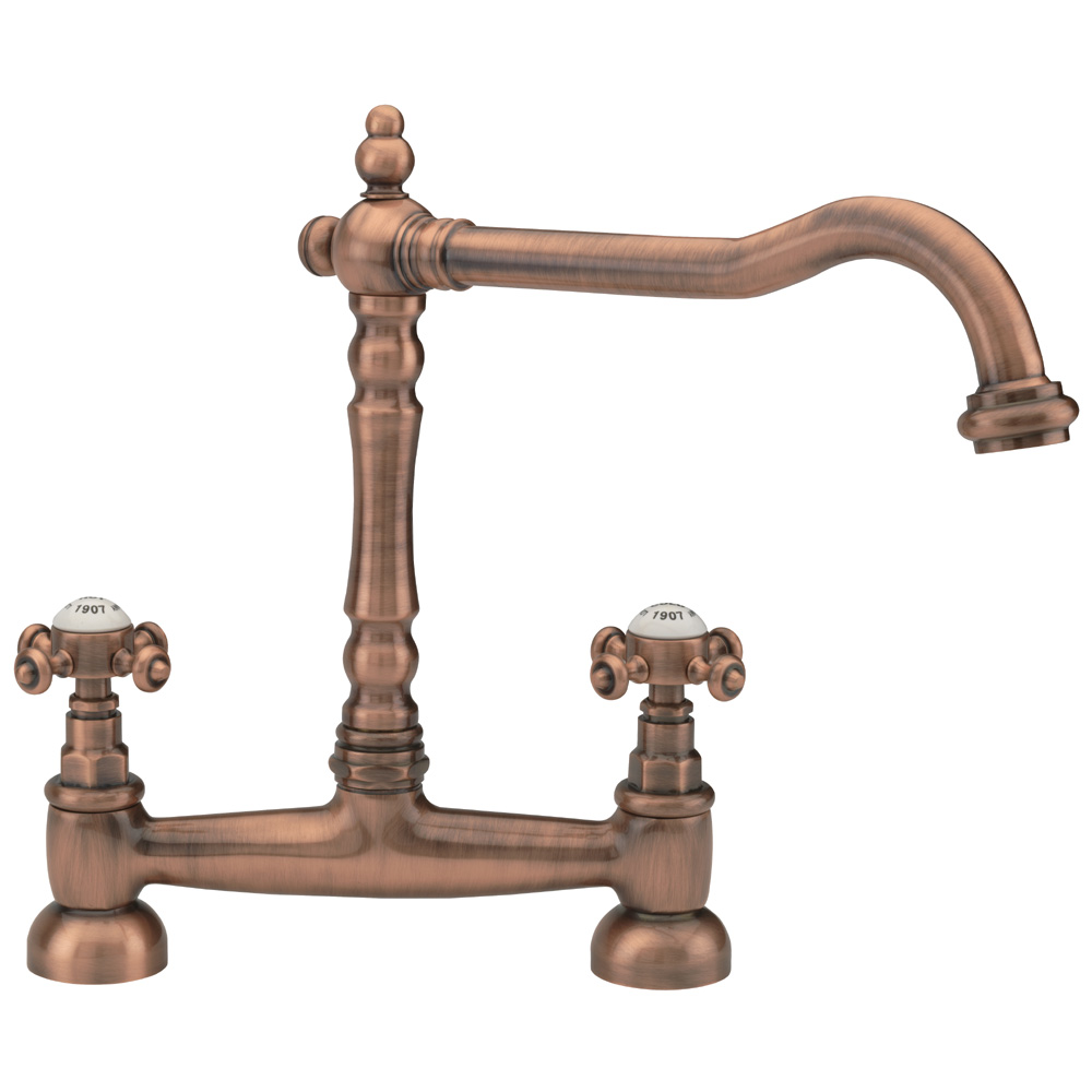 Tre Mercati – French Classic Mono Bridge Sink Mixer – Old Copper