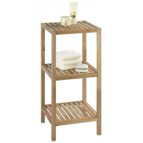 Wenko Norway 3 Tier Household & Bath Shelf - Walnut Wood - 18617100 profile large image view 1