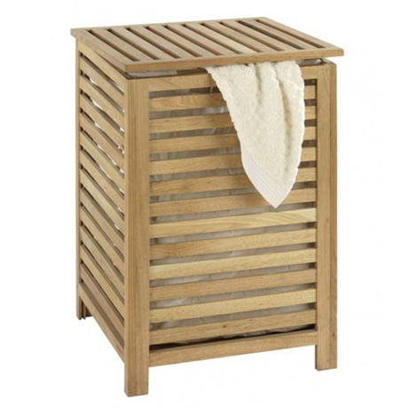 Wenko Norway Laundry Bin w/ Cotton Wash Bag - Walnut Wood - 18620100