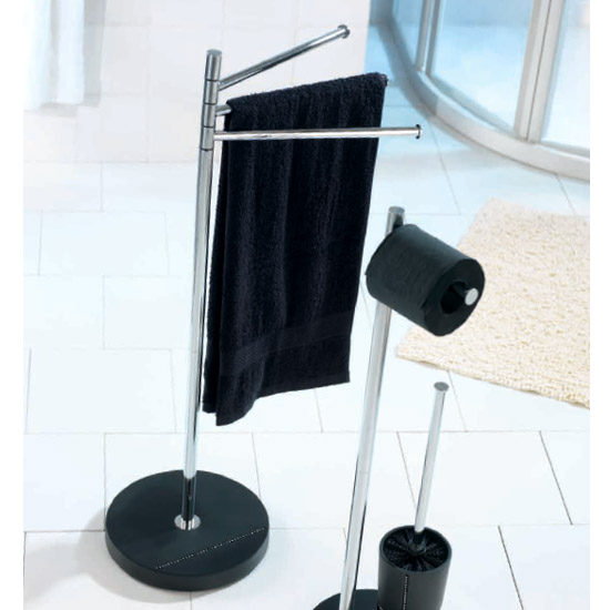Wenko Diamond Towel and Clothes Stand - Chrome/Black - 18766100 profile large image view 3