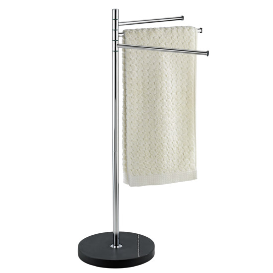 Wenko Diamond Towel and Clothes Stand - Chrome/Black - 18766100 Large Image