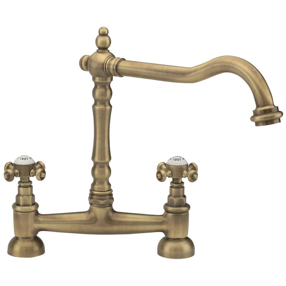 Tre Mercati - French Classic Mono Bridge Sink Mixer - Antique Brass - 187 Large Image
