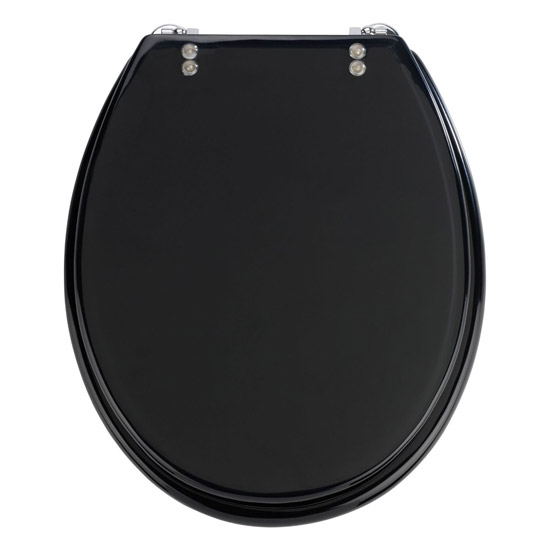 Wenko Topic Hand-made Polyresin Toilet Seat - Black - 18924100 Large Image
