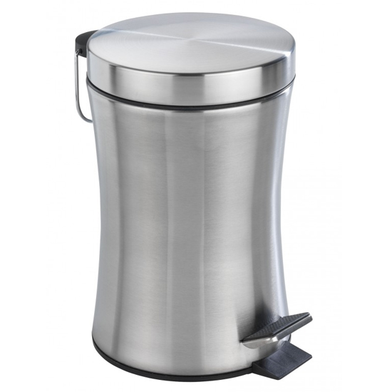Wenko Pieno 3 Litre Pedal Bin - Stainless Steel - 18957100 Large Image