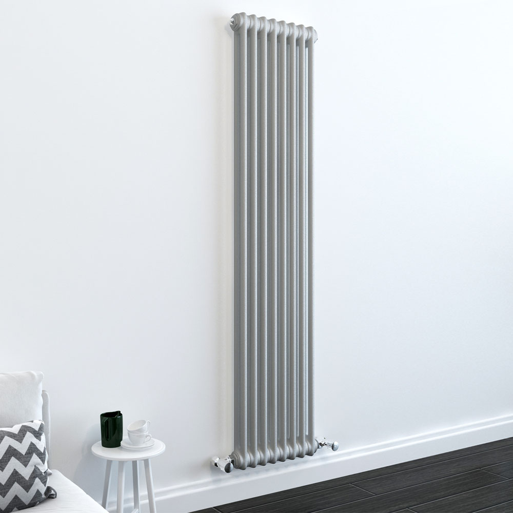 Keswick Grey 1800 x 372mm Cast Iron Style Traditional 2 Column Radiator