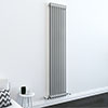 Keswick Grey 1800 x 372mm Cast Iron Style Traditional 2 Column Radiator profile small image view 1