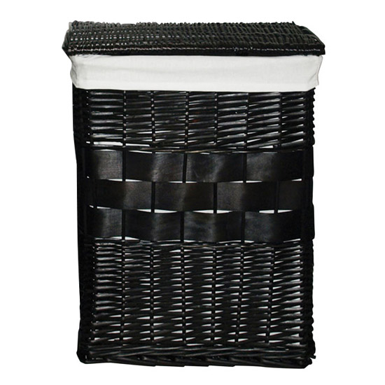 Black Rectangular Wicker Laundry Basket with Cotten Liner - 1900959 Large Image