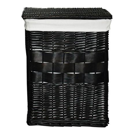Black Rectangular Wicker Laundry Basket with Cotten Liner - 1900959