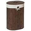 Saroma Oval Bamboo Laundry Hamper - Dark Brown profile small image view 1