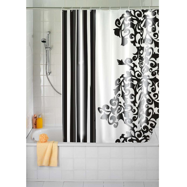 Wenko Ornamento Nero Polyester Shower Curtain - W1800 x H2000mm - 19222100 profile large image view 1