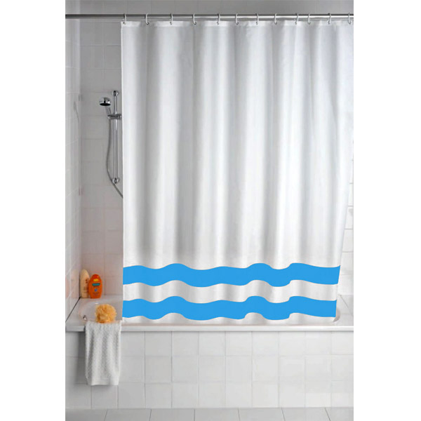 Wenko Tropic Polyester Shower Curtain - W1800 x H2000mm - Blue - 19244100 Large Image
