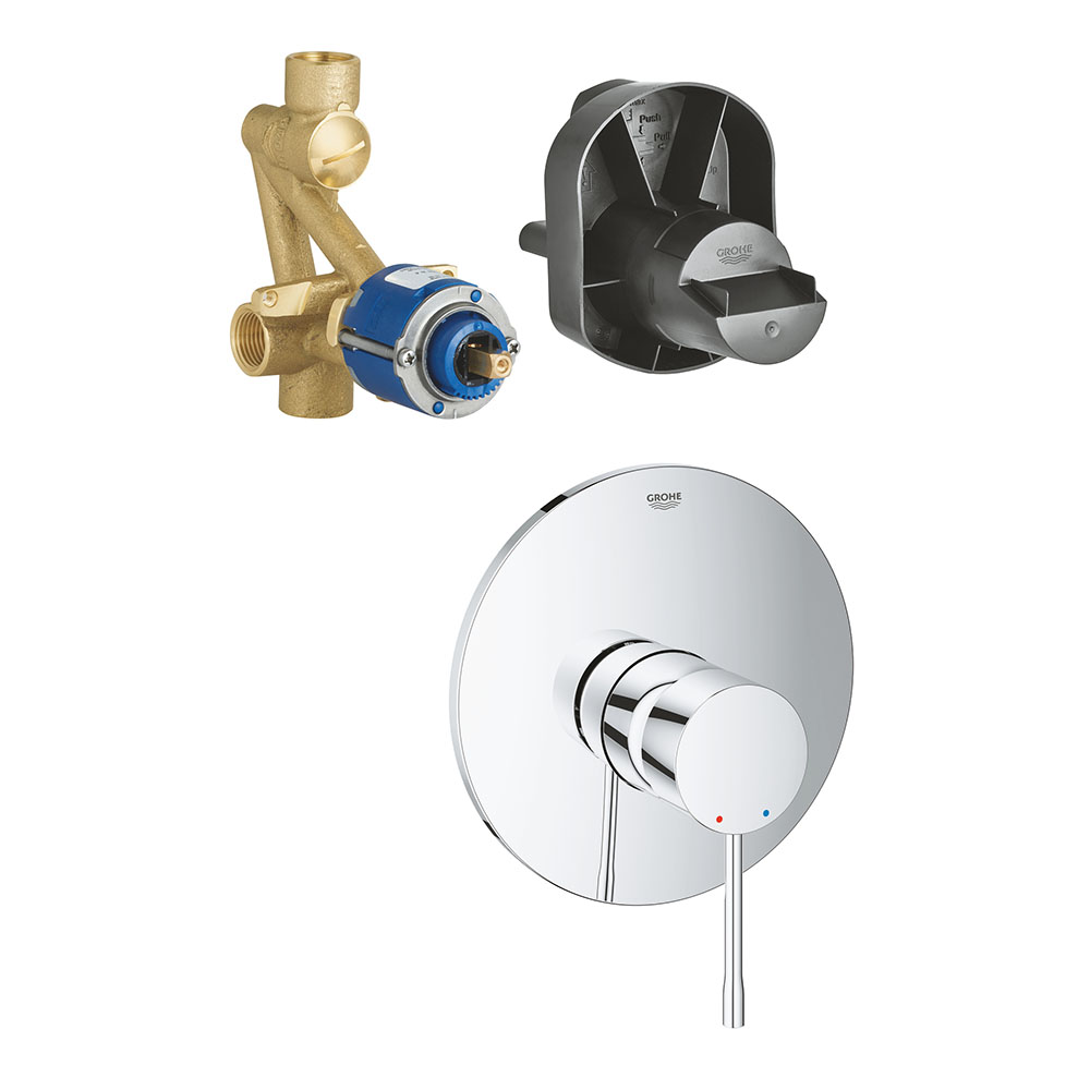 """Grohe Essence Single-Lever Shower Mixer Trim + 1/2"""" Concealed Body"""