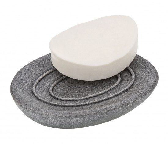 Wenko Pebble Stone Grey Soap Dish - 19491100 profile large image view 2