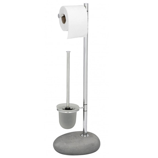 Wenko Pebble Stone Grey Standing WC Set - 19494100 Large Image