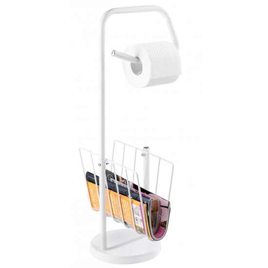 Wenko Toilet Roll Holder and News Rack - White - 19653100 profile large image view 1
