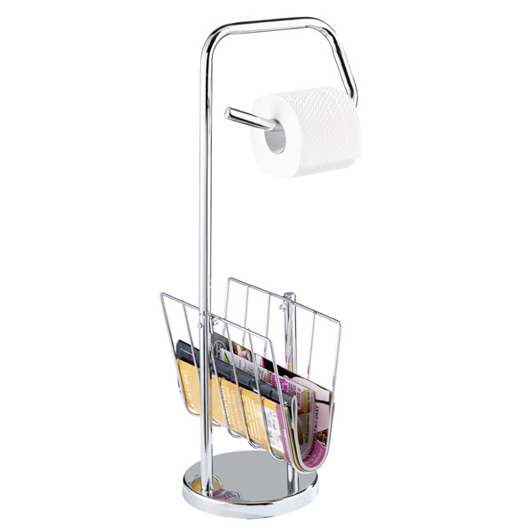 Wenko Toilet Roll Holder and News Rack - Chrome - 19654100 Large Image