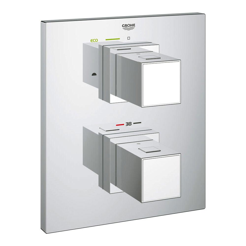 Grohe Grohtherm Cube Thermostat 2-Way Diverter Bath Shower Trim - 19958000 Large Image