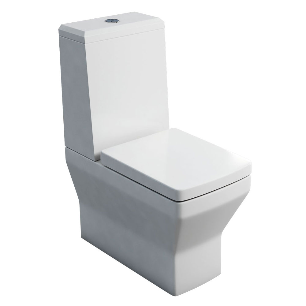 Britton Bathrooms - Cube S20 Close Coupled Toilet with Angled Lid Cistern & Soft Close Seat profile large image view 1