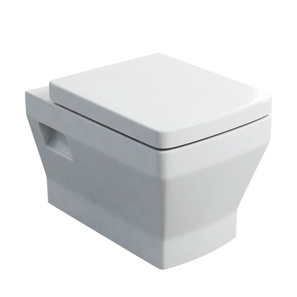 Britton Bathrooms - Cube S20 Wall Hung WC with Soft Close Seat profile large image view 1