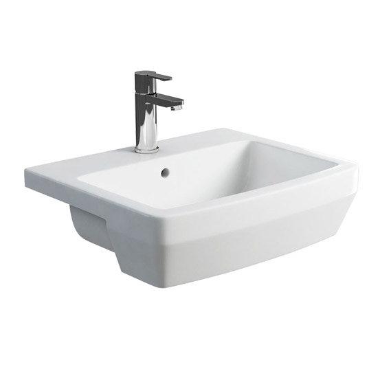 Britton Bathrooms - Cube S20 Semi Recessed basin 55cm - 20.1954 profile large image view 1