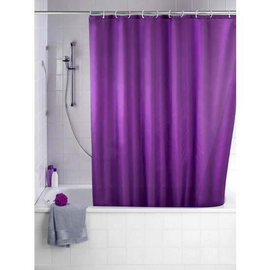Wenko Plain Purple Polyester Shower Curtain - W1800 x H2000mm - 20035100 Large Image