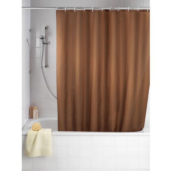 Wenko Plain Chocolate Polyester Shower Curtain - W1800 x H2000mm - 20036100 profile large image view 1