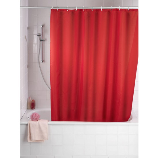 Wenko Plain Red Polyester Shower Curtain - W1800 x H2000mm - 20037100 Large Image