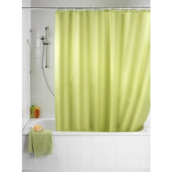 Wenko Plain Anise Green Polyester Shower Curtain - W1800 x H2000mm - 20038100 Large Image