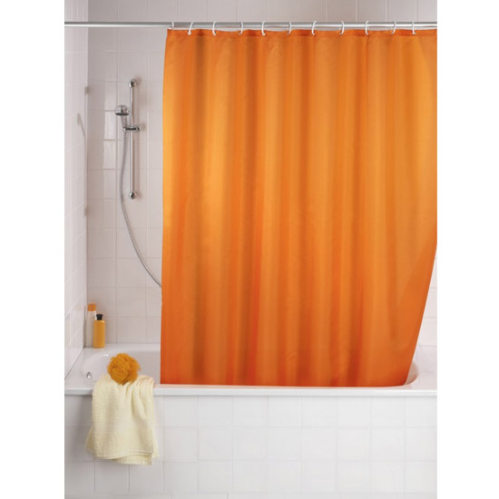 Wenko Plain Orange Polyester Shower Curtain - W1800 x H2000mm - 20039100 profile large image view 1