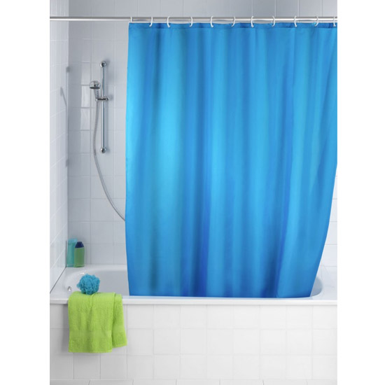 Wenko Plain Marine Polyester Shower Curtain - W1800 x H2000mm - 20041100 Large Image