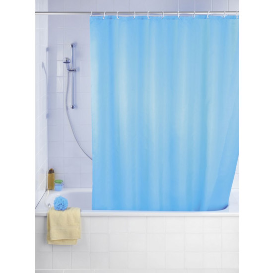 Wenko Plain Light Blue Polyester Shower Curtain - W1800 x H2000mm - 20042100 Large Image