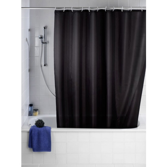 Wenko Plain Black Polyester Shower Curtain - W1800 x H2000mm - 20043100 profile large image view 1