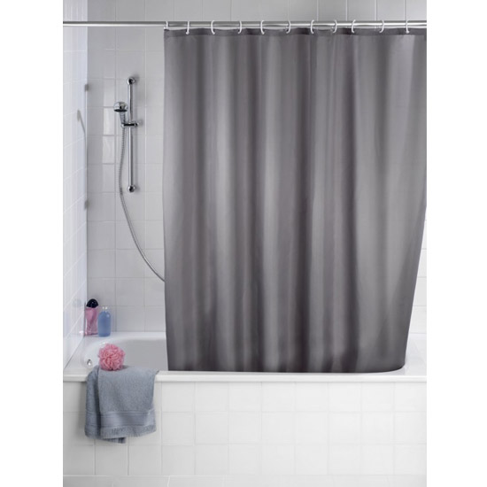 Wenko Plain Grey Polyester Shower Curtain - W1800 x H2000mm - 20044100 Large Image