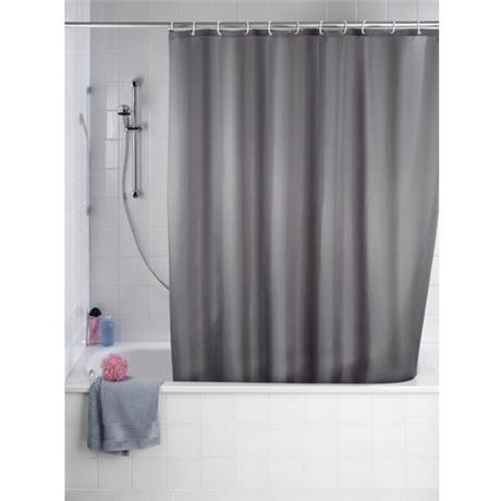 Wenko Plain Grey Polyester Shower Curtain