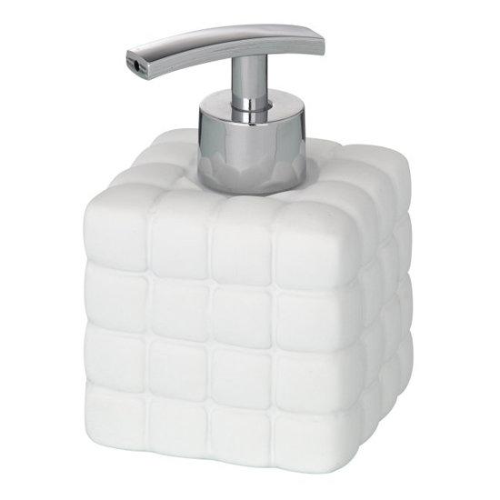 Wenko Cube Ceramic Soap Dispenser - White - 20085100 profile large image view 1