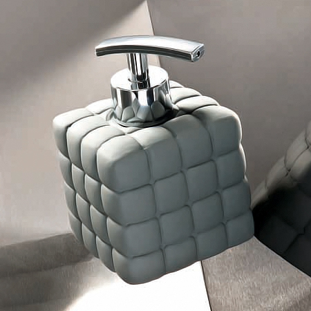 Wenko Cube Ceramic Soap Dispenser - Dark Grey - 20087100 Profile Large Image