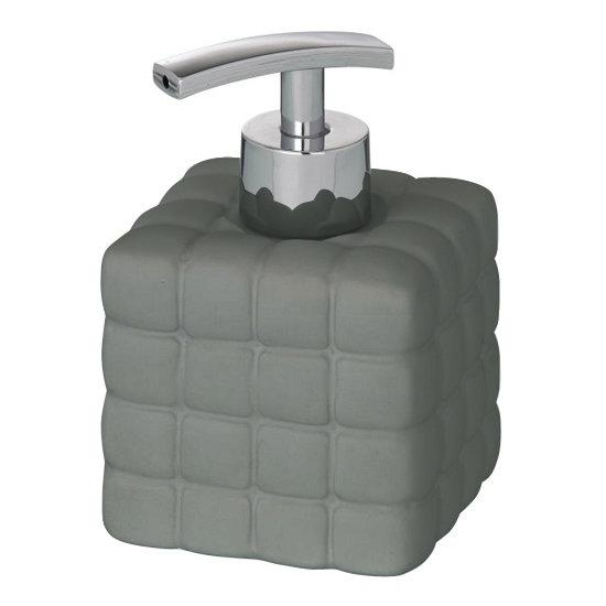 Wenko Cube Ceramic Soap Dispenser - Dark Grey - 20087100 Large Image