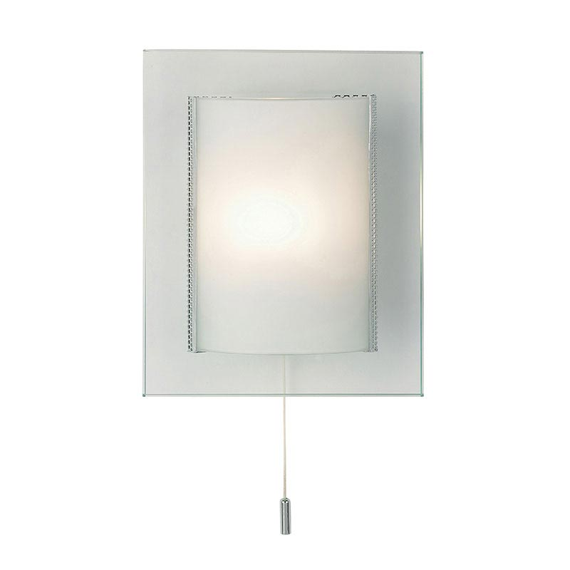 Endon - Cabot Rectangular Two Tiered Glass Wall Light Fitting with Pull String- 2011-WB Large Image