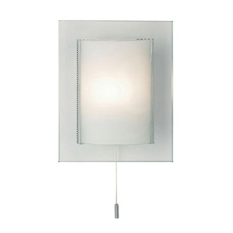 Endon - Cabot Rectangular Two Tiered Glass Wall Light Fitting with Pull String- 2011-WB
