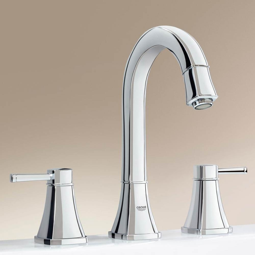 Grohe Grandera High Spout 3-Hole Basin Mixer with Pop-up Waste - Chrome - 20389000 profile large image view 2