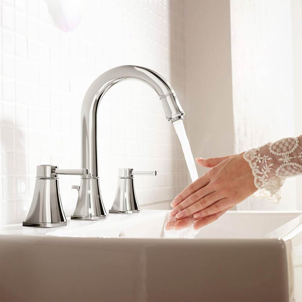 Grohe Grandera High Spout 3-Hole Basin Mixer with Pop-up Waste - Chrome - 20389000 profile large image view 4