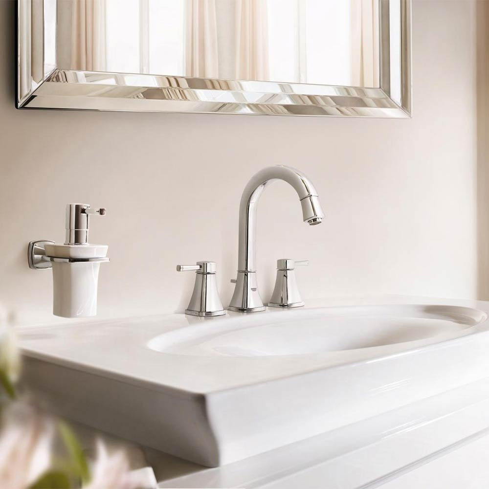 Grohe Grandera High Spout 3-Hole Basin Mixer with Pop-up Waste - Chrome - 20389000 profile large image view 5
