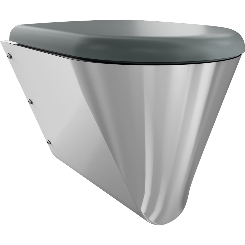 Franke Campus CMPX592G Stainless Steel Wall Hung WC Pan + Grey Toilet Seat
