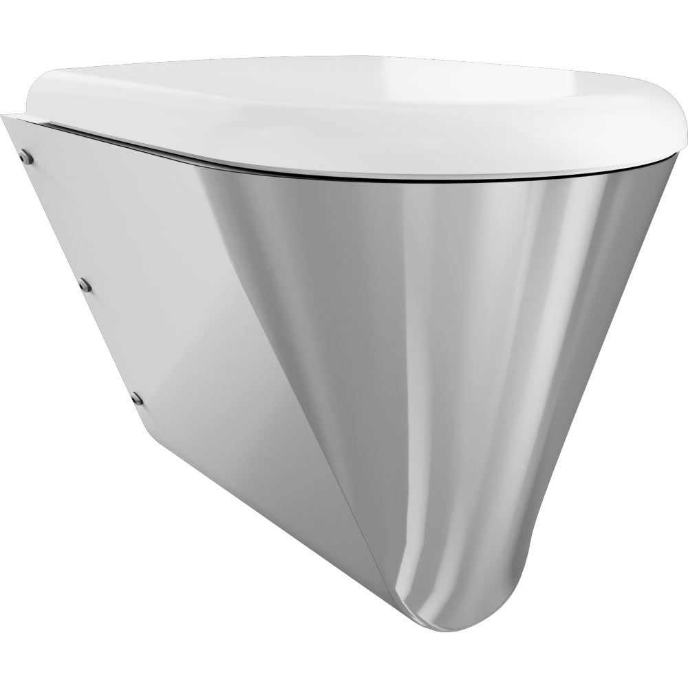 Franke Campus CMPX592W Stainless Steel Wall Hung WC Pan + White Toilet Seat