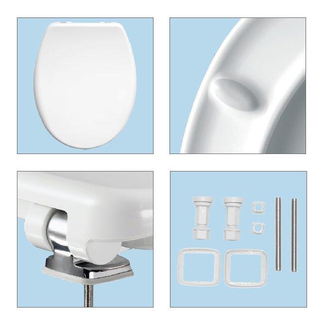 Bemis Venezia Soft Close Toilet Seat with Adjustable Chrome Hinges - 2082CLT000 Feature Large Image