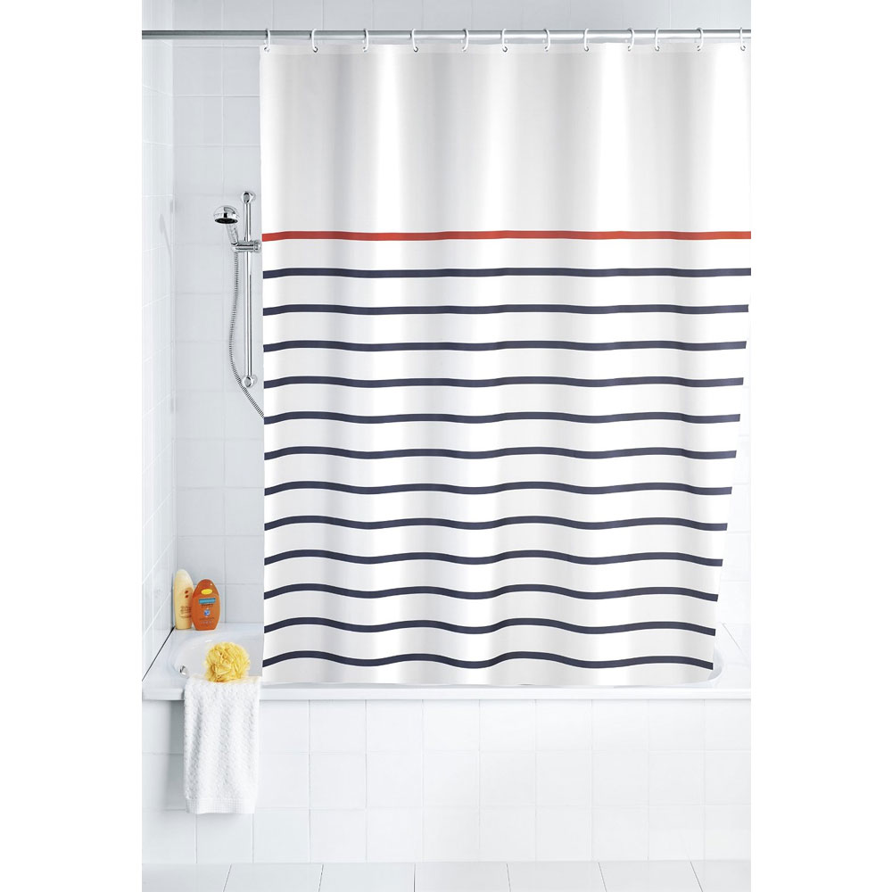 Wenko Marine Polyester Shower Curtain - W1800 x H2000 - White - 20964100 profile large image view 2
